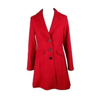 Cece Red Wool-Blend Bow-Detail Walker Coat - 2