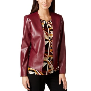Tahari By ASL NEW Red Garnet Women's Size 16 Faux-Leather Jacket
