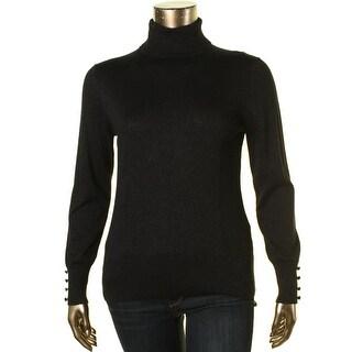 Cable & Gauge Womens Pullover Sweater Metallic Turtleneck