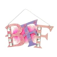 Tween Christmas Glitter BFF with Gem and Feather Plaque Ornament 5""