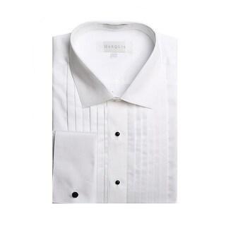 Marquis Men's White French Cuff Spread Collar 1/2 Inch Pleats Tuxedo Shirt