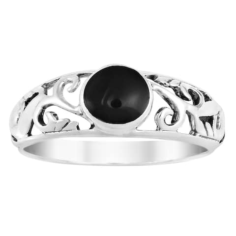 Handmade Intricate Lace Swirl Vines Round Stone Sterling Silver Ring (Thailand)