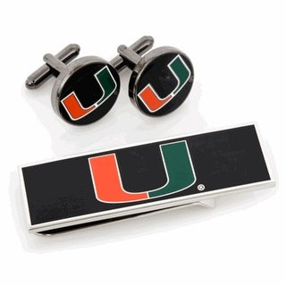 University of Miami Hurricanes Cufflinks and Money Clip Gift Set - Multicolored