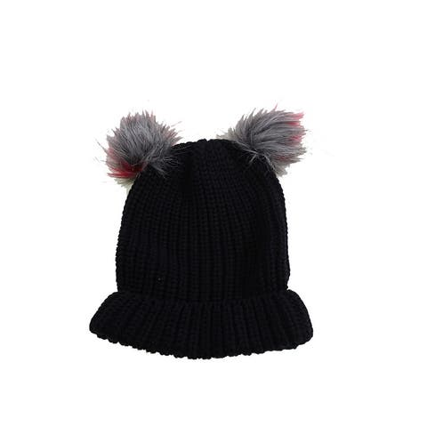 Inc International Concepts Black Double Faux Fur Pom Cuff Hat OS
