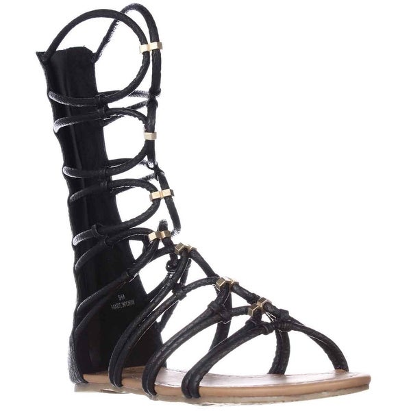 XOXO Gizella Tall Gladiator Sandals, Black Snake