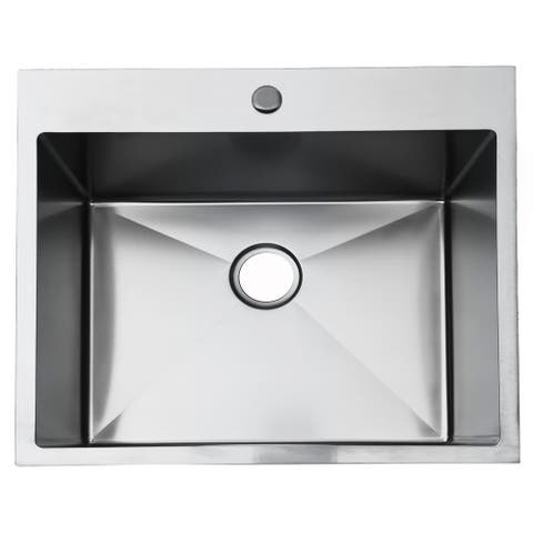 "25 x 22 x 9"" Kitchen Sink Drop-in Topmount Single Bowl Sink"