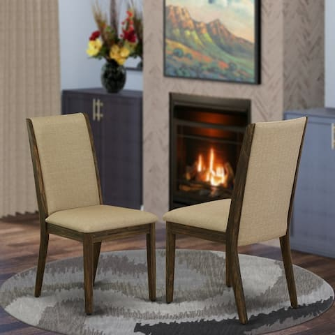 East West Furniture chairs -Fabric Parson Chairs - Set of 2
