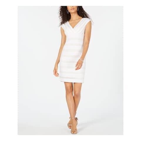 ADRIANNA PAPELL White Sleeveless Above The Knee Dress 10
