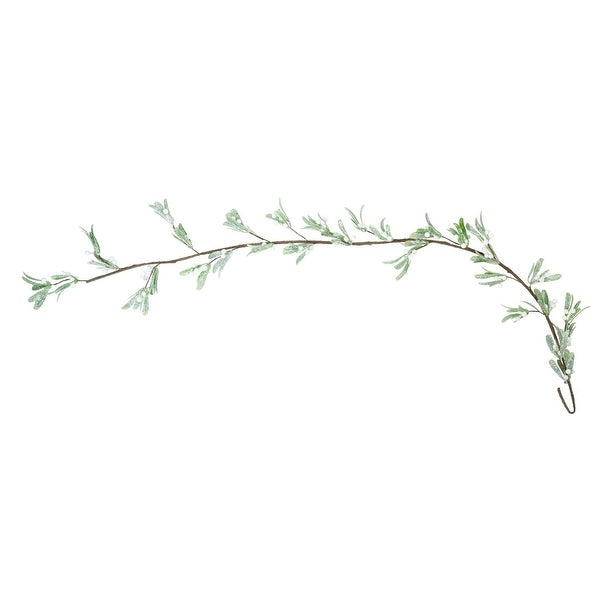 "55"" Glittered Artificial Green and White Mistletoe Branch Christmas Garland- Unlit"