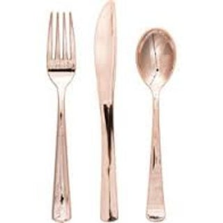 Club Pack of 288 Shiny Metallic Rose Gold Party Plastic Cutlery Assortment