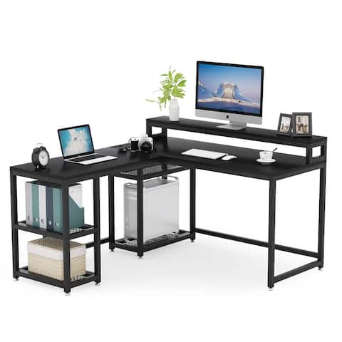Reversible L Shaped Computer Desk with Monitor Riser and Storage Shelves