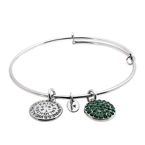 Chrysalis Expandable May Bangle Bracelet with Green Swarovski Crystals in Rhodium-Plated Brass