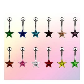 "Navel Belly Button Ring with Prong-Set 7mm Solitare Star CZ - 14GA 3/8"" Long (Sold Ind.) (Option: Clear)"