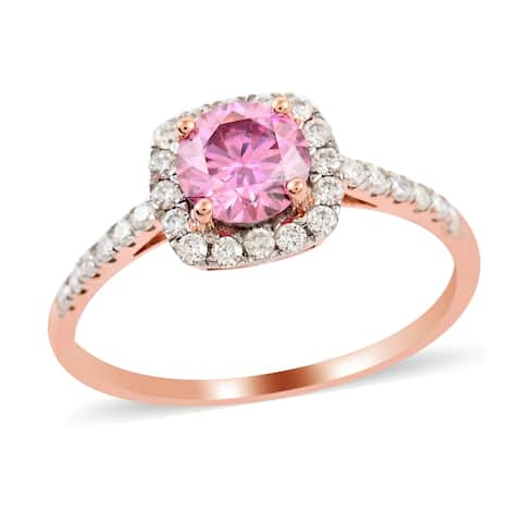 Rose Gold Over 925 Sterling Silver Moissanite Halo Ring Ct 1.4
