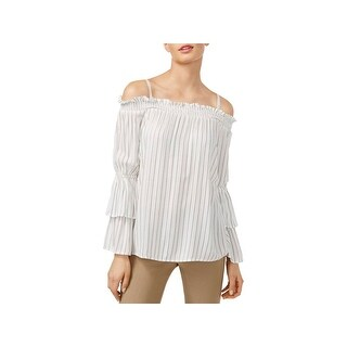 Calvin Klein Womens Pullover Top Striped Tiered