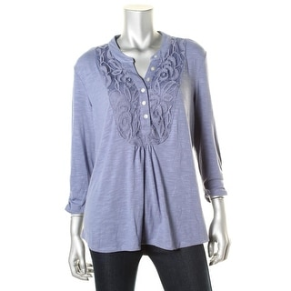 NY Collection Womens Lace Front Ruched Pullover Top
