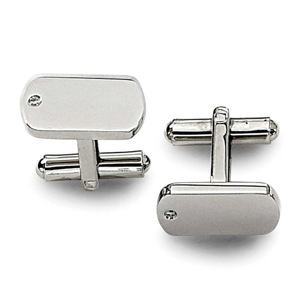 Chisel Diamond and Polished Stainless Steel Cuff Links