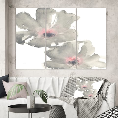 Designart 'Shabby Gray Blush Cosmo II' Shabby Chic Canvas Wall Art