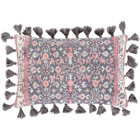 Millie Printed Floral Damask Cotton Lumbar Throw Pillow