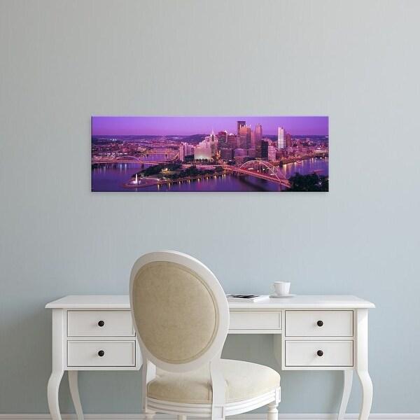 Easy Art Prints Panoramic Images's 'Dusk, Pittsburgh, Pennsylvania, USA' Premium Canvas Art