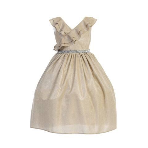 Kids Dream Little Girls Gold Ruffle Rhinestone Lurex Christmas Dress