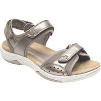 Rockport Women's Franklin Three Strap Sport Sandal Taupe Metallic Leather