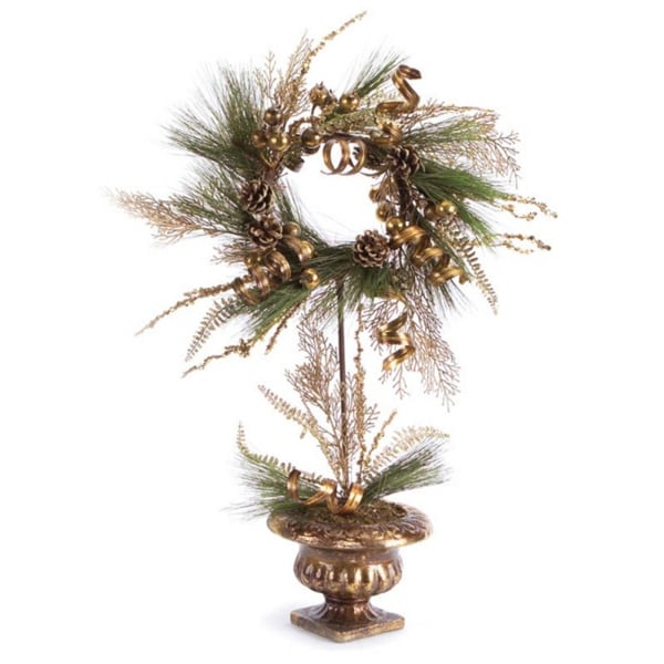 """28"""" Golden Brown Ribbon Berry & Pine Cone Christmas Wreath Topiary Tree - Unlit"""
