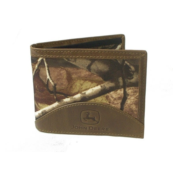 John Deere Western Wallet Mens Leather Pass Case Tan Camo - One size