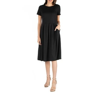 24seven Comfort Apparel Midi Dress with Short Sleeves and Pocket Detail R0026180