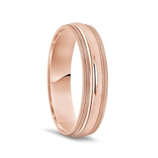 14k Rose Gold Polished Finish Men S Domed Wedding Ring With Double Milgrain 7mm