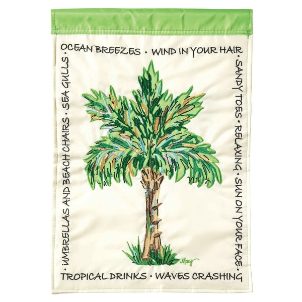 "Cream White and Green Palm Tree Printed Rectangular Garden Flag 18"" x 13"" - N/A"