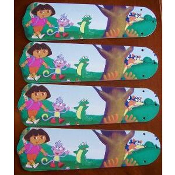 Dora the Explorer Custom Designer 42in Ceiling Fan Blades Set - Multi