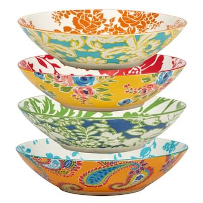 Certified International Damask Floral Assorted Designs Soup/Cereal Bowls, Set of 4