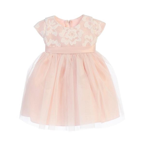 Sweet Kids Baby Girls Blush Floral Sponge Mesh Tulle Flower Girl Dress