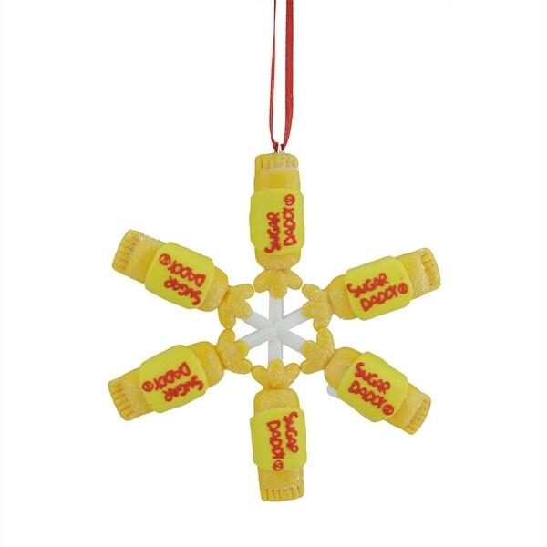 """4"""" Tootsie Roll Sugar Daddy Lollipop Snowflake Claydough Christmas Ornament"""