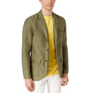 Tommy Hilfiger Rafael Olive Green Linen Blend Blazer Jacket Large L