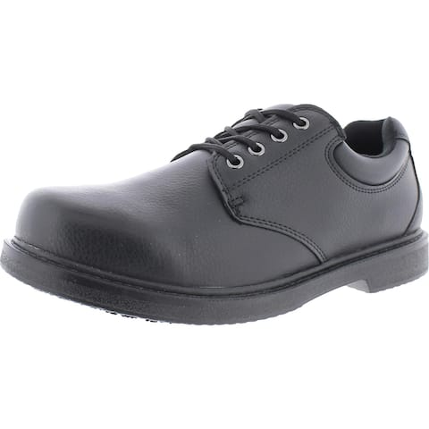 Dr. Scholl's Mens MDS Dave Work Shoes Leather Slip Resistant - Black - 10 Wide (E)