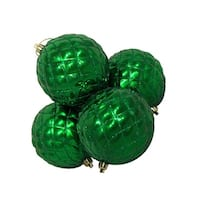 4ct Shiny Xmas Green Diamond Design Shatterproof Christmas Ball Ornaments 3.75""