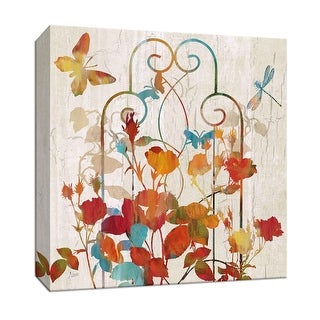 """PTM Images 9-147077  PTM Canvas Collection 12"""" x 12"""" - """"Rainbow Trellis I"""" Giclee Flowers Art Print on Canvas"""