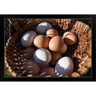 """""""Farm fresh eggs in a basket"""" Black Framed Print"""