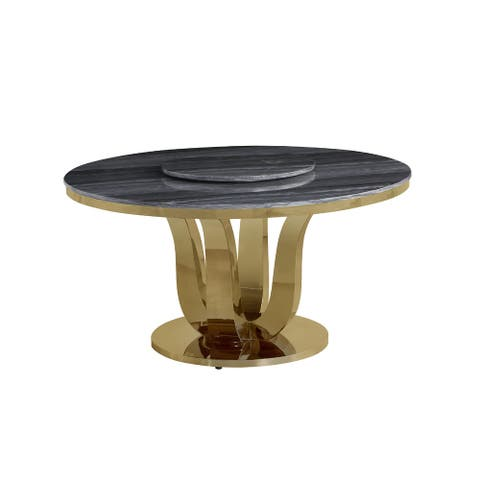 Best Quality Furniture Round Marble Dining Table Gold Stainless Steel - Table + Lazy Susan
