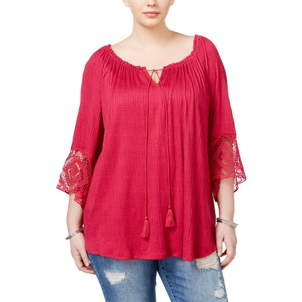 e4dc8935ce4a3 Shop Eyeshadow Womens Plus Peasant Top Lace Trim Bell Sleeves - Free ...