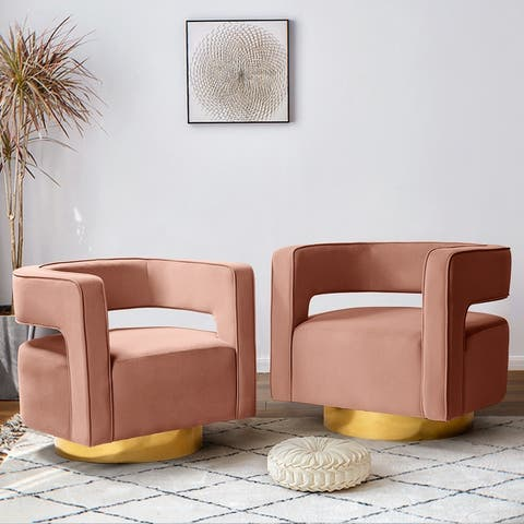 Carisa Swivel Barrel Chair with Open Back,Set of 2
