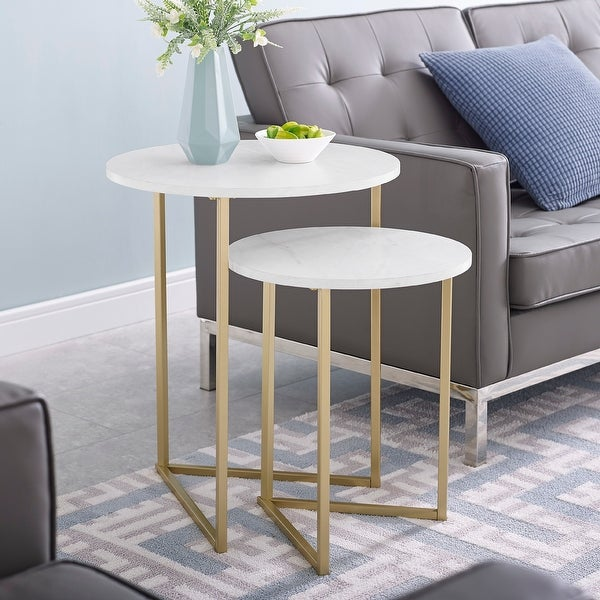 Silver Orchid V-Leg Nesting Side Table Set. Opens flyout.