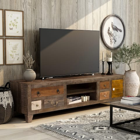 Furniture of America Rudd Solid Wood 5-Drawer TV Stand