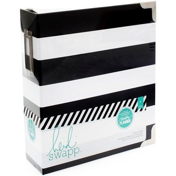 "Heidi Swapp Memory Planner Binder 8""X8.75""X3""-Black & White Stripe"