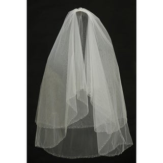 "Angels Garment Ivory Delicate Mesh Communion Wedding Veil 28"" L1 x 35"" L2 x 58""W"