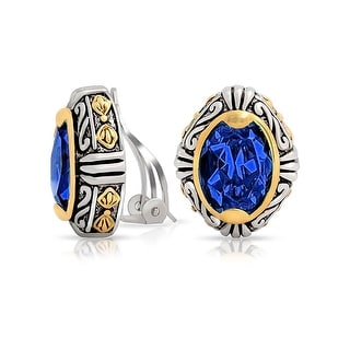 Bling Jewelry Simulated Sapphire Crystal Oval Two Tone Bali Style Clip On Earrings Rhodium Plated - Blue