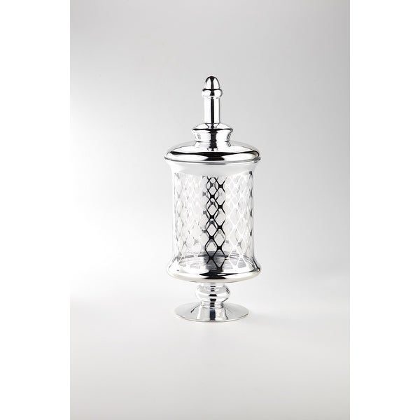 "17.5"" Clear and Silver Mesh Designed Glass Jar with Lid - N/A"