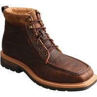 Twisted X Boots Men's MLCALW1 Lite Work Lacer Alloy Toe Boot Dark Brown Leather